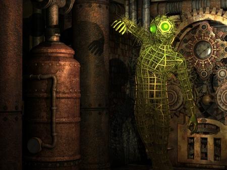 seres vivos: Los seres extraterrestres en 3D de representación en la sala de máquinas