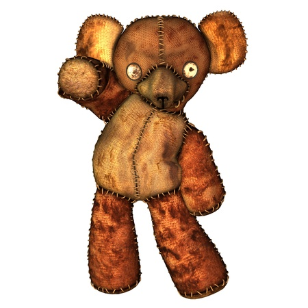 sewed: 3d rendering of a dancing, old teddy bear as illustration  in the comic style