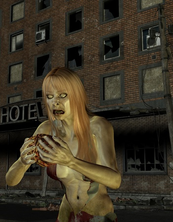 apocalypse: 3D Rendering Zombie woman in front of an old hotel Stock Photo