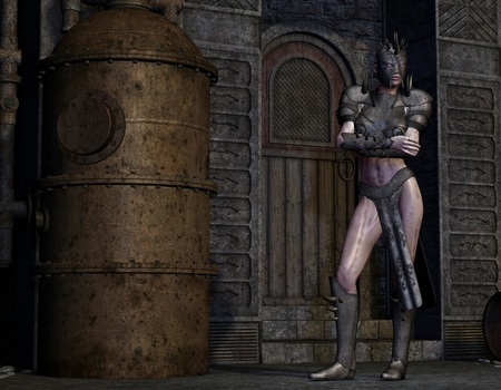 the destroyer: 3D Rendering dirty woman in armor Stock Photo