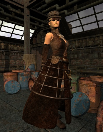 3D Rendering Steampunk Lady in an old warehouse Stock Photo - 11874971
