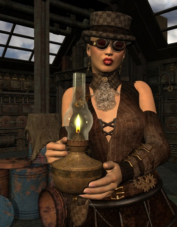 3D Rendering Woman in steampunk look with lamp Stock Photo - 11874991