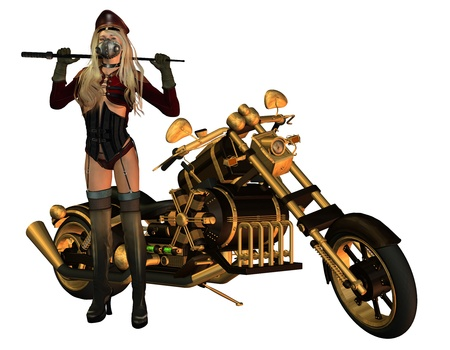 femme policier: Rendu 3D d'une moto sexy lady comme illustration