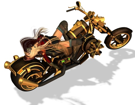 3d rendering of a sexy biker in lascivious pose as illustration illustration