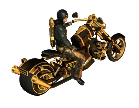 poser: 3d rendering of a biker as illustration