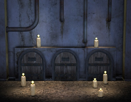 3D Rendering burning candles in front of an old wall Stock Photo - 11919245