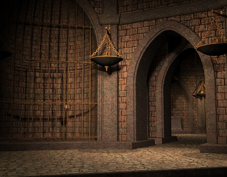 dungeon: 3D Rendering Background cell in an old castle cellar