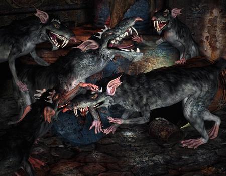wścieklizna: 3d rendering szczurów grupy jako ilustracjÄ™ w stylu komiksu