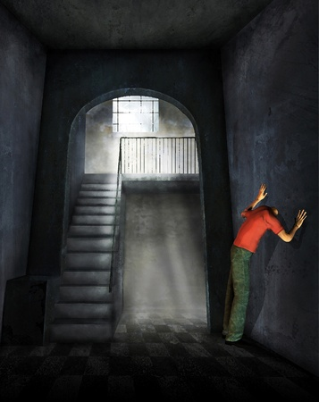 3d rendering of a man in the corridor will head through the wall as an illustration illustration