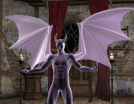 underworld: 3D Rendering The white devils with wings Stock Photo