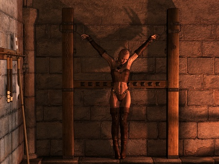 inquisition: 3d rendering prisoners zombie woman in prison