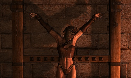 3D Rendering Inquisition woman in chains photo