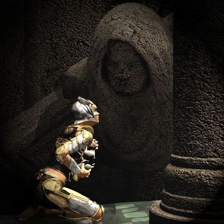 dungeon: 3d rendering of a kneeling warrior with a child as an illustration
