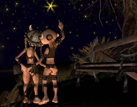 amorous: 3d rendering of an amorous couple under the stars for Valentine Stock Photo