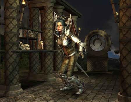medioevo: 3D RenderingWarrior al santuario nel Medioevo