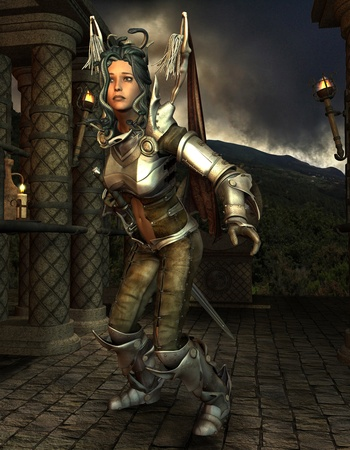 warrior pose: 3D Rendering Medusa in armor Stock Photo