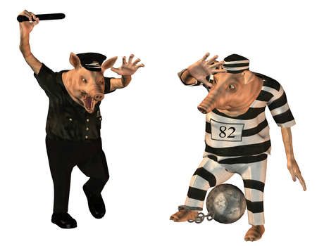 intimidate: 3d rendering of a policeman who intimidate a detainee as an illustration in cartoon style Stock Photo