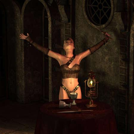 medusa: 3D Rendering of a Warrior with sword