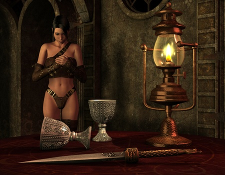 fantasy castle: 3D Rendering Woman in the light of an oil lamp