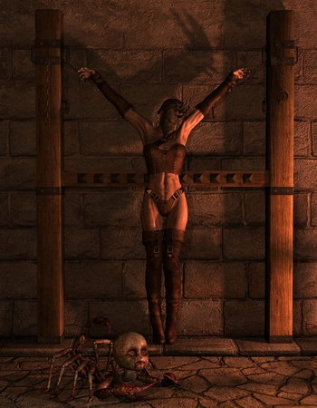 inquisition: 3D Rendering bound woman and a creature