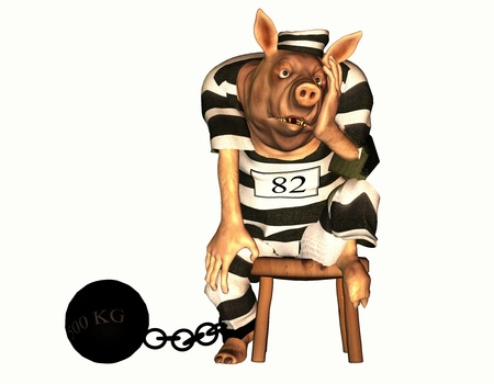 3d rendering a prisoner pig's with foot  fetter than the comic-style illustration Stock Illustration - 12517036