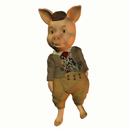 jovial: 3d rendering of a pig when run as  illustration in comic style