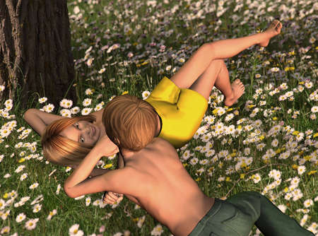 romance love: 3d rendering of a young couple lying on the grass as an illustration