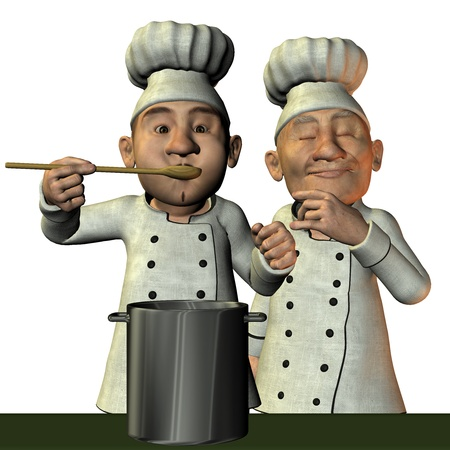 master chef: 3D Rendering Chef with hot soup