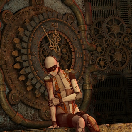 12 hour: 3D Rendering Steampunk thought at the time Stock Photo
