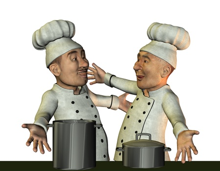 chef s hat: 3D Rendering Chef and kitchen boy happy Stock Photo