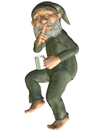 sleep well: 3D Rendering old man with coffee cup