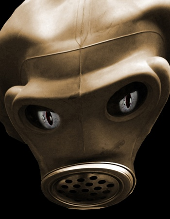 gas mask with eyes as an illustration, ghostly, extraterrestrial Stock Illustration - 13082239