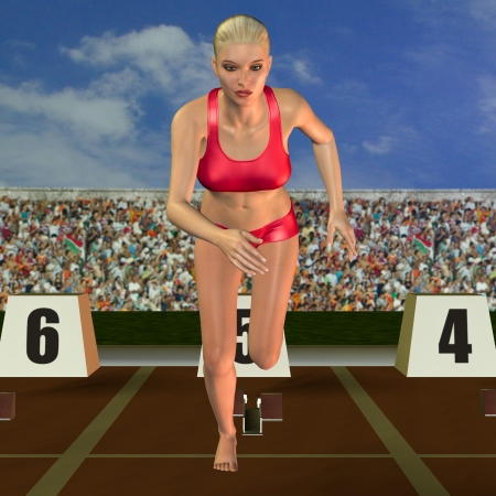 viewers: 3D rendering runner at the start of a race