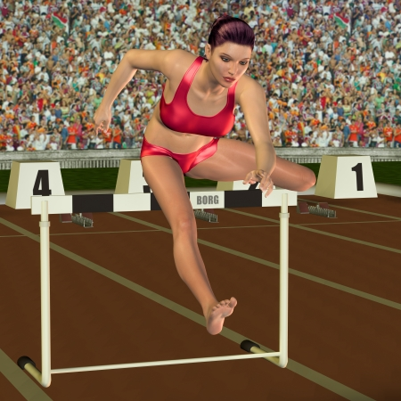 hurdles: 3D rendering athlete jumps over a hurdle Stock Photo