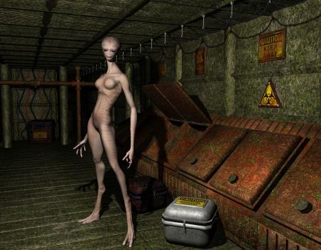 alien women: 3D Rendering Alien in an old factory