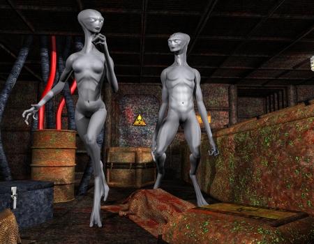 alien women: 3D Rendering Aliens in an old base