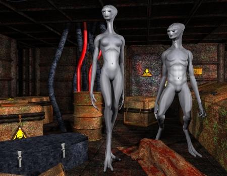 alien women: 3D rendering alien life forms in an old factory