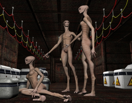alien women: 3D rendering of a group of extraterrestrial life forms