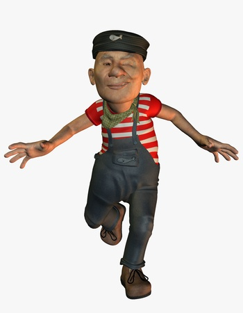 3D rendering of a funny old seaman photo