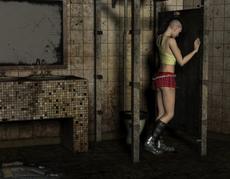 3D Rendering Punk girl stands in a toilet Stock Photo - 15358777
