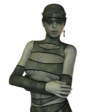 3D Rendering of a Bondage girl with piercing photo