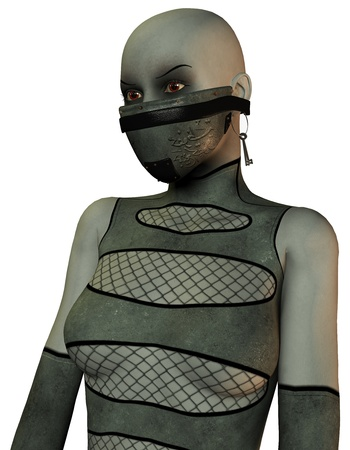 3D Rendering Masked woman in bondage style photo