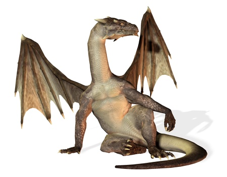 3D rendering of a seated dragon photo