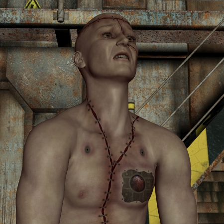 stigma: 3D rendering man with scars and implant