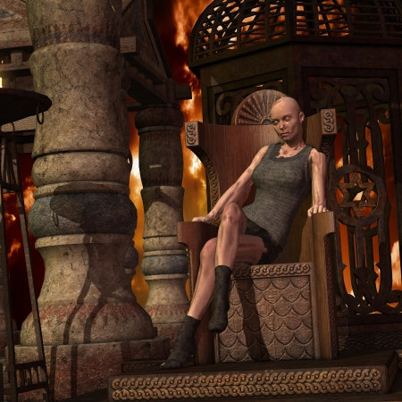 dilapidated: 3D rendering of a zombie woman on a throne Stock Photo