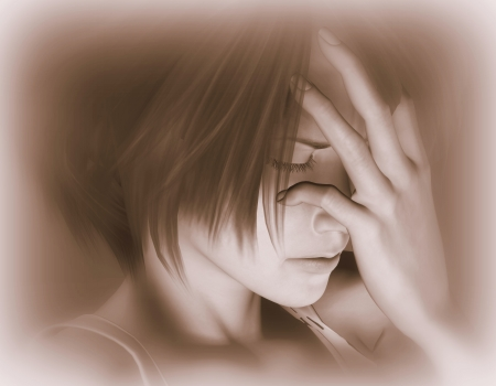 thoughtless: 3d rendering of a sad woman as an illustration