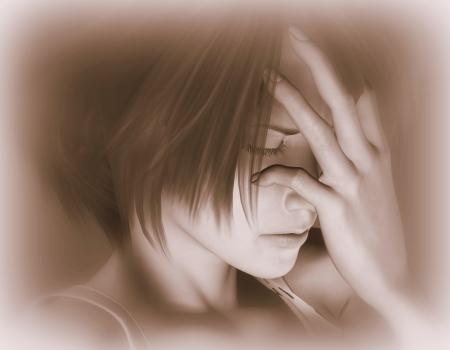 luto: Representaci�n 3D de una mujer triste como una ilustraci�n