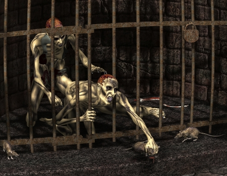 undead: 3d rendering of captive zombies as illustration Stock Photo