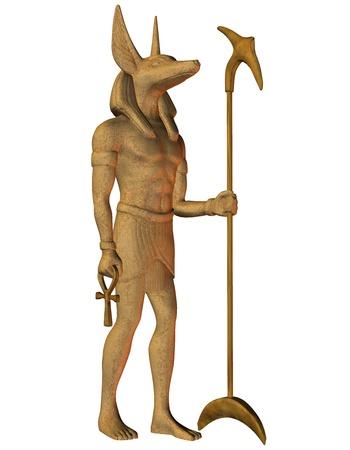 ankh cross: 3D Rendering Anubis from Egyptian mythology Stock Photo