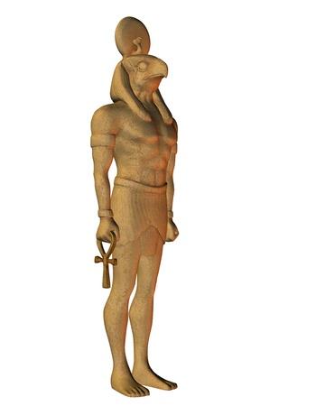 ankh cross: 3D Rendering Horus from Egyptian mythology Stock Photo